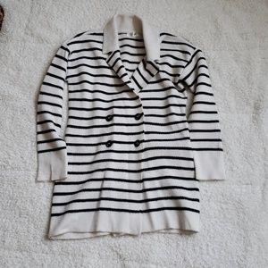 Cream and black stripe cardigan
